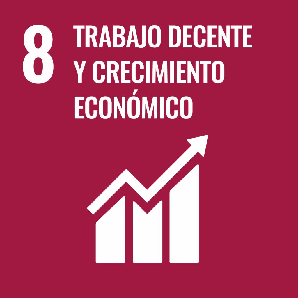 Logotipo ODS 8 Trabajo decente y crecimiento económico
