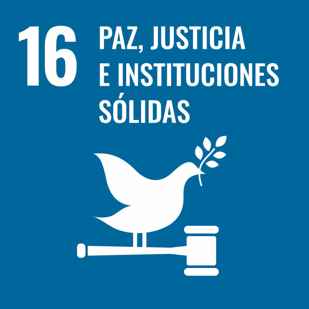 Logotipo ODS 16 Paz, justicia e instituciones sólidas