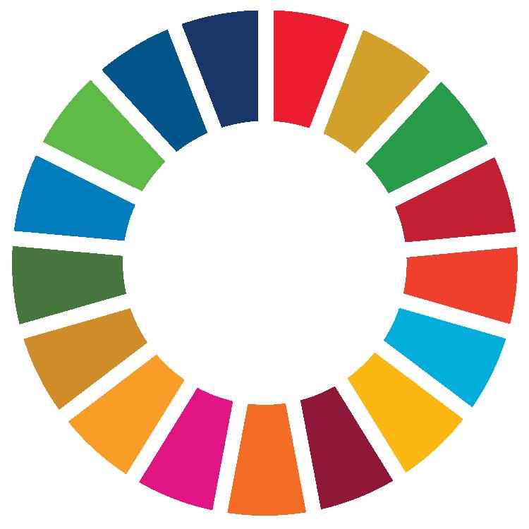 Rueda representativa de los ODS con fondo transparente